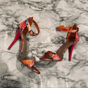 Floral print high heel shoes flower colorful